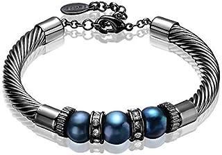 Mestige Women's Black Lithe Freshwater Pearl Bracelet with Swarovski Crystals - MSBR3070