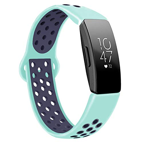 DYKEISS Sport Band Compatible for Fitbit Inspire HR Fitness Tracker Band, Soft Silicone Replacement Accessory Women Men Breathable Wristband Strap (Small, Teal/Navy)