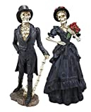 Ebros Gift Day of The Dead DOD Skeleton Lady Bride and Gentleman Groom Couple in Steampunk Black Wedding Attire Figurine Set As Fashion Divas Statues Ossuary Macabre Halloween Skeletons Decor