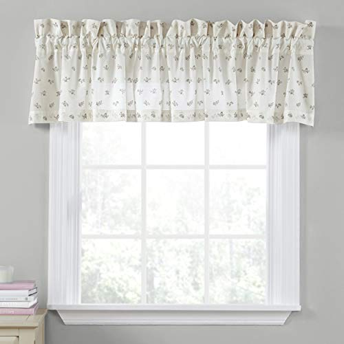 """Laura Ashley Home   Harper Collection   Stylish Premium Hotel Quality Valance Curtain, Chic Decorative Window Treatment for Home Décor, 86"""" X 15"""", Sage"""