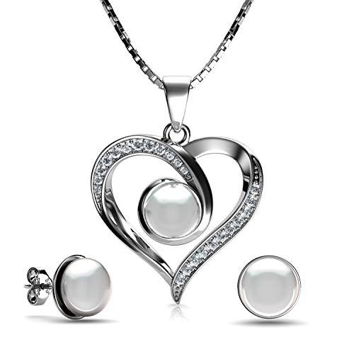 DEPHINI - Juego de collar y pendientes de perlas - Plata de ley 925 - Pendientes de gota de perla real y colgante de perla - Juego de joyería fina para mujeres