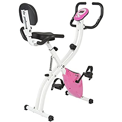 Best Choice Products Folding Upright Exercise Cycling Bicycle for Cardio w/Resistance Knob, Adjustable Height - Pink