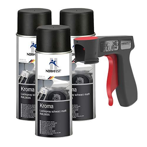 AUPROTEC Peinture aérosol Kroma Noir Mat Spray Vernis résistante à l'essence pulvérisateur 3X 400 ML + 1x poignée Originale pour Bombes aérosols