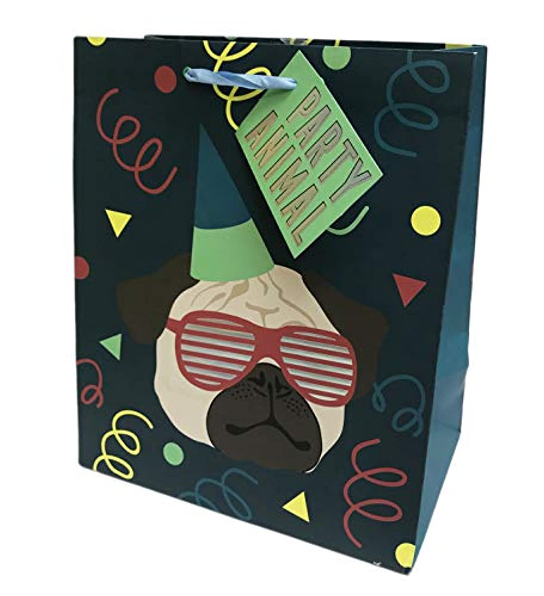 Party Animal Pug Wearing Cool Sunglasses & Party Hat Novelty Happy Birthday Celebration Party Gift Bag