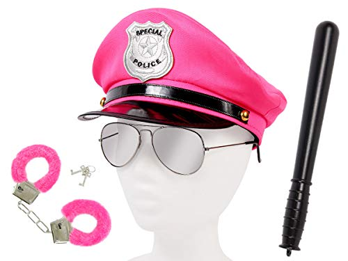 Alsino Damen Polizei Set Uniform (Kv-115) mit Pilotenbrille, Plüschhandschellen, Schlagstock und Polizeimütze