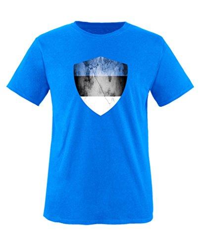 Comedy Shirts - Estland Trikot - Wappen: Groß - Wunsch - Kinder T-Shirt - Royalblau/Weiss Gr. 110-116
