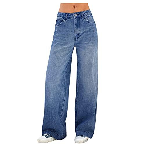 Women's Retro Wide Leg Denim Jeans High Waist Wide Leg Bell Bottom Zipper Boyfriend Distressed Pants Trousers (dark blue, L)