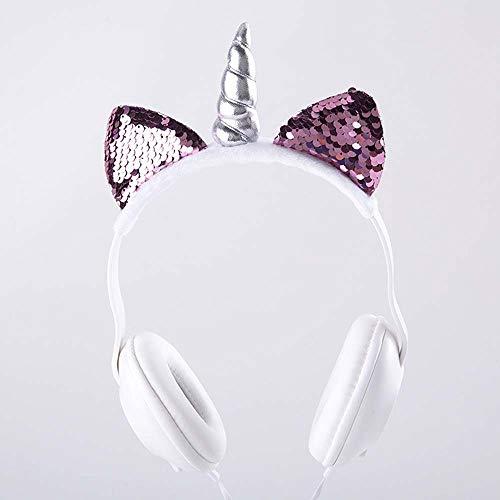 Lindo Oreja de Gato Unicornio LED Intermitente Auriculares con Cable Brillantes Auriculares Juego Cabeza Niño Adulto Verde