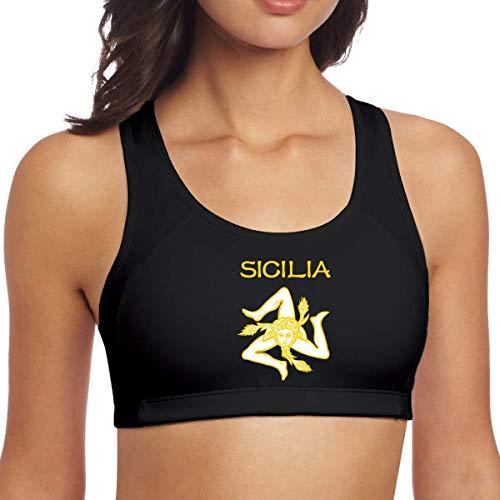 Siciliana Trinacria Sicilia Orgullo Mujeres Racerback Sport Bra para Yoga Correr Gimnasio Entrenamiento Fitn