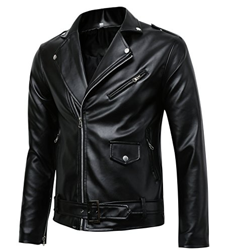 Men's Classic Police Style Faux Leather Motorcycle Jacket (M), Black