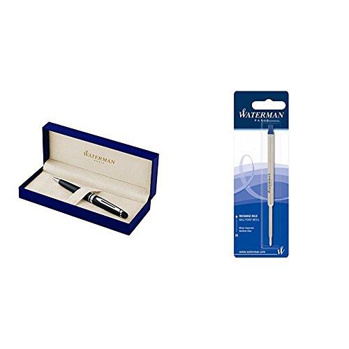 Waterman Expert Penna a Sfera Matte Black, Confezione Regalo + 1 Ricarica Blu