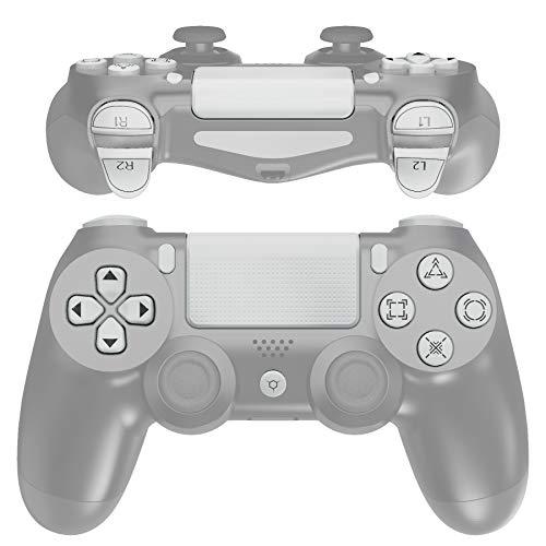 eXtremeRate Weiße klassische Symbole Ersatztasten für Playstation 4 PS4 Slim PS4 Pro CUH-ZCT2 Controller – kompatibel mit PS4 DTFS LED Kit – Controller nicht im Lieferumfang enthalten