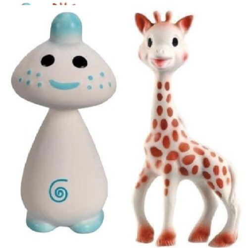Find Bargain Vullie Sophie Giraffe and Chan Blue - Natural Rubber and Food Paint Details Set of 2