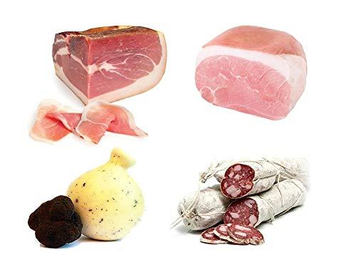 Caja degustación: Jamón crudo de Parma DOP, loncha 2,7 kg + loncha de jamón cocido, aprox. 2 kg + Corallina Salami aprox. 1 kg + Caciocavallo con Trufa 1 kg