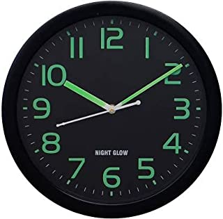 Crafting Arts Night Glow Wall Clock for Home/Living Room 26.6 cm X 26.6 cm (Black, with Glass)