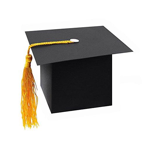 SODIAL 25Pcs DIY Papier Graduation Cap Geformte Geschenkbox Zuckerschoko Box Fuer Abschluss Party Favor Cap Bachelor Hut Hochzeit Pralinenschachtel Geschenk Schwarz