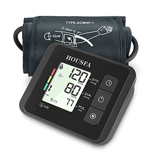 monitor with blood pressures HOUSFA Blood Pressure Monitor, Professional Arm Cuff Pressure Meter Monitor, Digital BP Machine with Large Cuff and Display, Accurate 2 X 120 Readings Memory for 2 Users Family Elderly Home Use