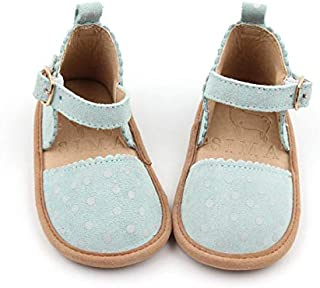 SIMABABY Frankie – Australian Designed, Closed Toe Baby Toddler Child Sandals, 100% Natural Genuine Leather, Pastel Mint with Cream Spots.