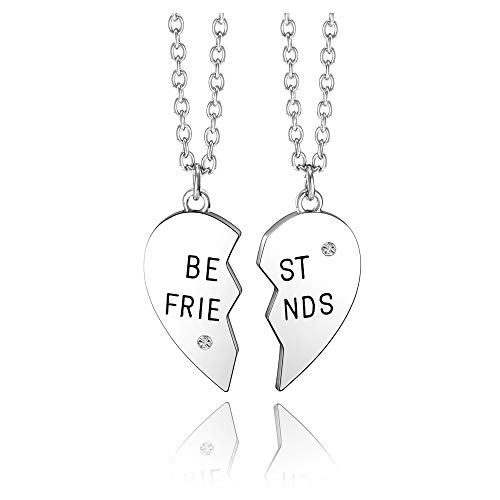 jovivi friends necklace for 2 silvers Jovivi Silver Tone Alloy BFF Necklace for 2-5 Best Friends Matching Heart Pendant Friendship Necklaces Women Girl Jewelry Gift
