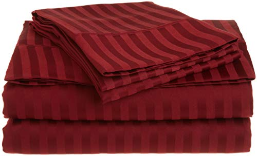 Sheets Set for Adjustable Bed 800 Thread Count 4pc King Burgundy Stripe Sheet Set - 100% Egyption Cotton Deep Pocket Bedsheets -Fits Mattress up to 20'' Deep Pocket, Sateen Weave, Soft, Silky