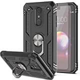 K30/Phoenix Plus/Premier Pro LTE/K10 2018 Case with HD Screen Protector (2Pack) KaiMai 360 Degree Rotating Ring & Dual Layers of Shockproof TPU and Solid PC Phone Case for K10 2018-Black