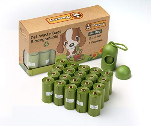 Yommy 360 Bolsas Biodegradables para Excrementos Perfumado 24 Rolls + 1 Dispensador YM4620