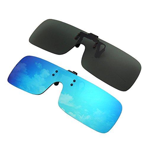 GQUEEN 2 Paia Lenti polarizzate a Clip Senza Bordi Corpo Unico per Nuotare Pescare Occhiali da Sole Occhiali per Prescrizione,JP68