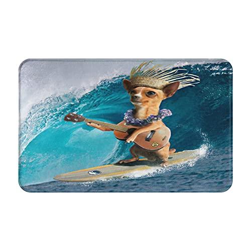 Marutuki Alfombra Decorativa para el Baño,Perro Chihuahua surfeando y Tocando la Guitarra,Alfombra de Baño Suave Antideslizante Micro Felpa,80 x 49 cm