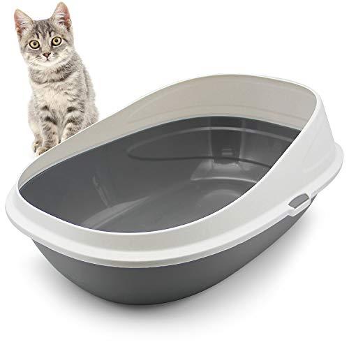 BPS Bandeja Higiénica Gatos Gatitos Aseo Arenero Abierto para Mascotas Gatos Bandeja Sanitaria Plástica 3 Colores para Elegir 57x39x27 cm (Blanco) BPS-2920