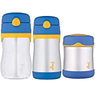 Thermos Foogo Food Jar and Travel Drink Bottle Blue/Yellow Set