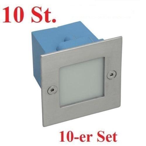 Lot de 10 spots LED encastrables TAXI - 1,5 W - Spot d'escalier chromé mat - Blanc neutre 4000 K - IP54 - Applique murale extérieure encastrable, métal moulé sous pression - Panneau avant en acier inoxydable - Directement sur 230 V - Carré / carré / carré - 1,5 W - 9 LED - WW-C/M Éclairage mural. Boîte de montage incluse - A à A++