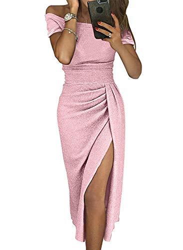 Prom Dress Sequin Off Shoulder Elegant Side Slit Metallic Knit Ruched Novelty Sexy Cockatil Evening Midi Wedding Dresses for Women Pink S