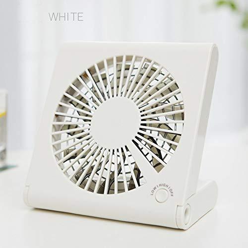 Wstomys Ventiladores Mini Ventilador Recargable portátil portátil de Escritorio USB para Uso portátil portátil (Color : White)