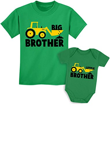 Big Brother Little Brother Shirts Gift for Tractor Loving Boys Siblings Set Baby Green/Kids Green Baby Newborn/Kids 2T