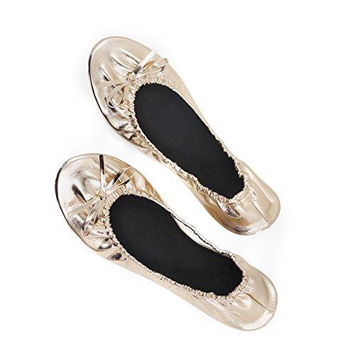 MR.SWEETIE Women Foldable Practice Dance Elastic Band Ballet Flat Shoes,Rubber Sole,Portable Trave Shoes (XL, matllic Rose Gold)