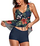 Omichic Tankini Swimsuits for Women Two Piece Bathing Suits Tribal Lesves Tank Top with Boyshorts Tummy Control Swimming Navy XX-Large