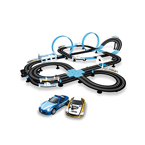 LIUFS-Pista Carrito De Juguete para Niños Pista De Sonic Storm Boy Control Remoto Eléctrico Manivela Racing Doble Pista Competitiva (Tamaño : 13.5m-b)