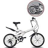 SHIN 20 Pulgadas Plegable De Aluminio Bicicleta De Paseo Mujer Bici Plegable Adulto Ligera Unisex Folding Bike Sillin Confort Ajustables,6 Velocidad,Capacidad 150kg / A