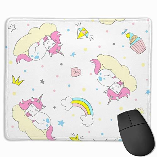 Unicorn Ice Cream Diamond Pattern Rechteckiges, rutschfestes Gaming-Mauspad Tastatur Gummi-Mauspad für Heim- und Büro-Laptops