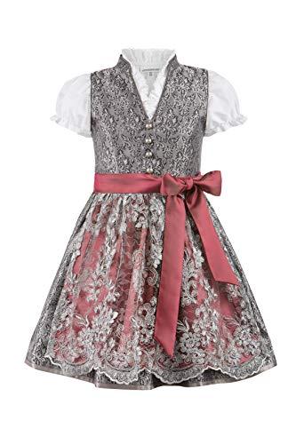 Stockerpoint Mädchen Kinderdirndl Lilly Kleid für besondere Anlässe, grau-Bordeaux, 86-92