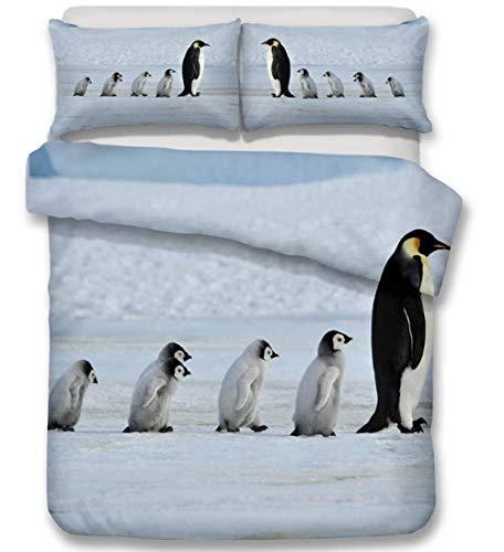 HANTAODG Juego de edredón con 2 Fundas de Almohada,Pingüino Emperador ártico 150x200cm Juego De Fundas De Edredón Incluye 1 Funda Nórdica Y 2 Funda De Almohada,para Adultos, Niños Y Adolescentes