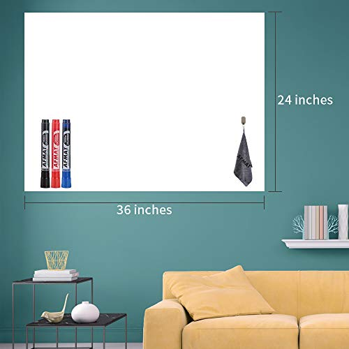 """White Board Paper, Dry Erase Wallpaper, Peel and Stick Dry Erase Board, 36"""" x 24"""" Self Adhesive White Board Wall Paper for Kids Home & Classroom, Whiteboard Sticky Paper with 3 Markers, No Ghost"""