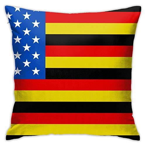 Fundas de almohada de poliéster con bandera alemana americana, fundas de almohada para sofá, decoración del hogar, 45 x 45 cm