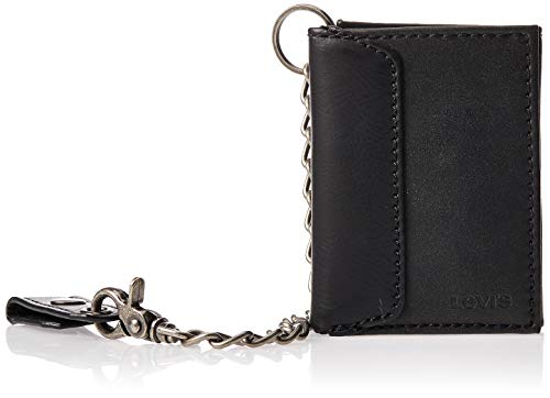 Levi's Men's Trifold Wallet, Black with Chain, One Size