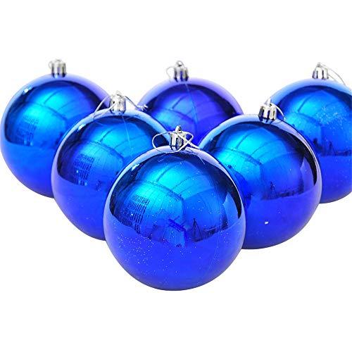 6 Pezzi Infrangibile Palline Di Natale, Ciondoli Decorazioni Natalizie, Blu, 10Cm(3.9')