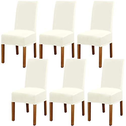 Leeyunbee 6 Piezas Fundas de Sillas de Comedor, Elásticas y Modernas Funda Asiento Silla, Desmontables Lavables Cubiertas para Sillas para Comedor Hotel Banquete de Boda Decoración (Beige)