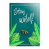 Leo Ansteck-Pin mit Geburtstagskarte - Stay wild! | Kleines