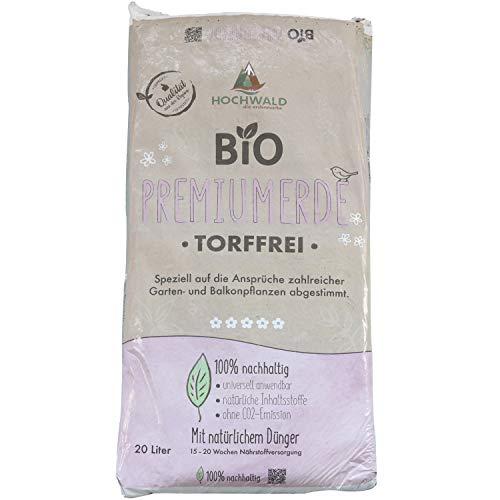 Hochwald - Bio Premium Erde 20 L torffrei mit nachhaltigem Langzeitdünger - Universal Bioerde mit Natur Dünger für Garten- & Zimmerpflanzen - Pflanzenerde für Kräuter & Gemüse mit Bodenhilfsstoffen