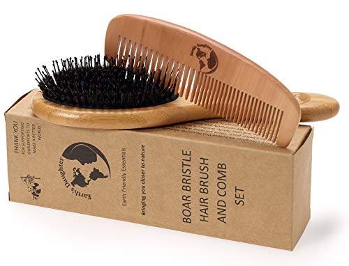 Boar Bristle Hair Brush With Nylon Pins and Free Comb   Pins To Detangle and Better Stimulate Your Scalp   Luxurious For Healthier And Shinier Hair For The Whole Family