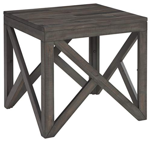 Signature Design by Ashley – Haroflyn Rustic Square End Table, Gray
